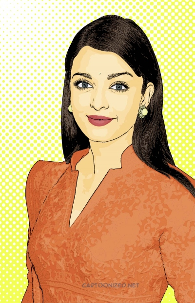 Photo Cartoon of Aishwarya Rai