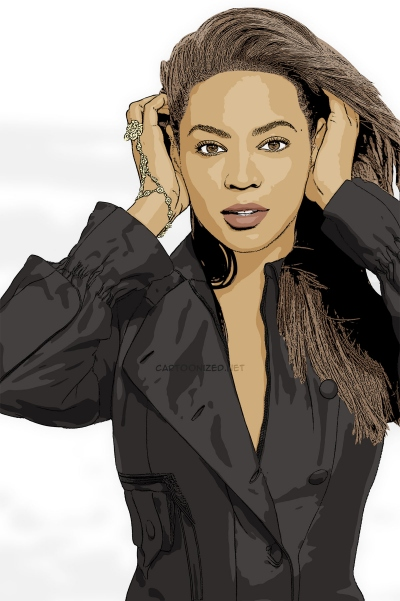 cartoon photo of Beyonce Knowles