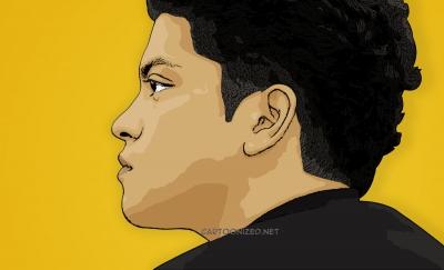 Photo Cartoon of Bruno Mars