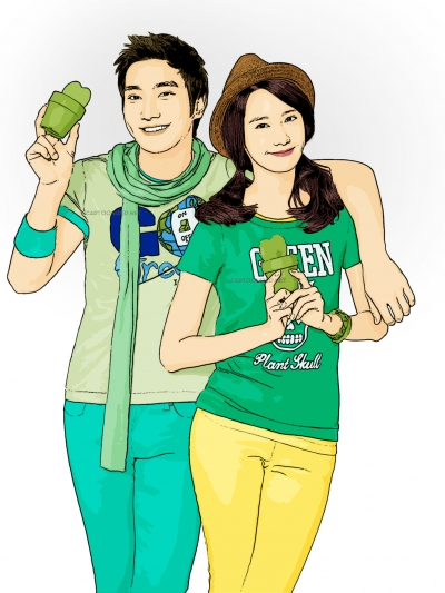 Photo Cartoon of choi siwon and yoona SNSD