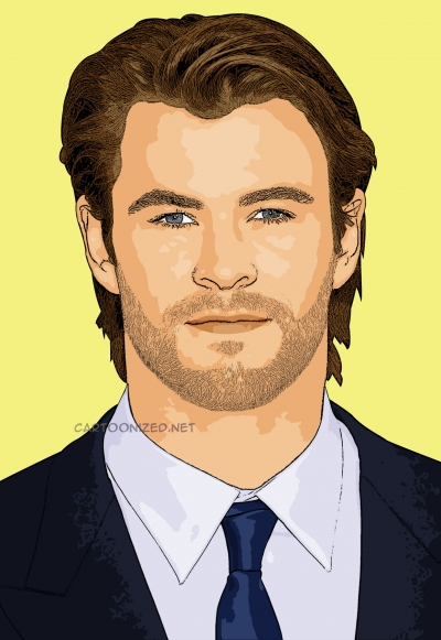Photo cartoon of Chris Hemsworth