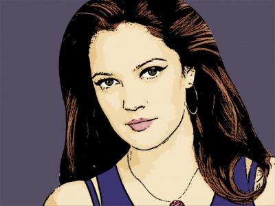 Photo Cartoon of Drew Barrymore