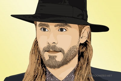 Photo cartoon of Jared Leto