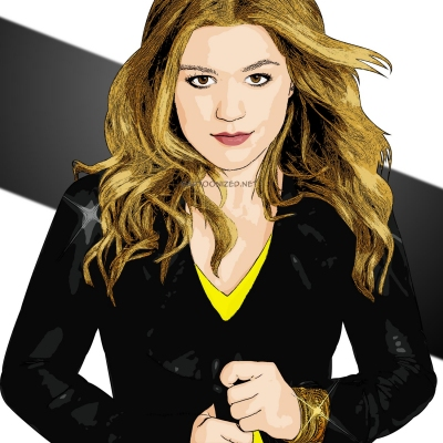 Photo cartoon of Kelly Clarkson
