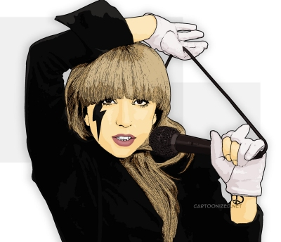 Photo Cartoon of Lady Gaga