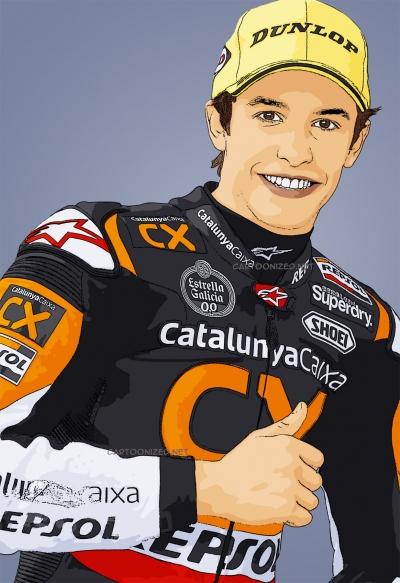 cartoon photo of Marc Marquez