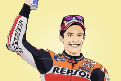 Photo cartoon of Marc Marquez
