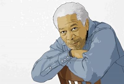 cartoon photo of Morgan Freeman