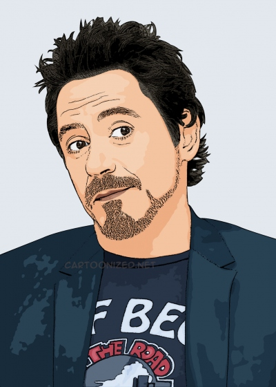 cartoon photo of Robert Downey Jr.