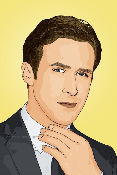 Photo cartoon of Ryan Gosling