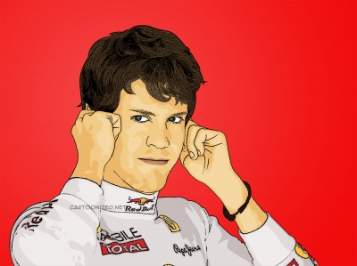 cartoon photo of sebastian vettel by cartoonized.net