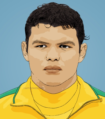 Photo cartoon of Thiago Silva