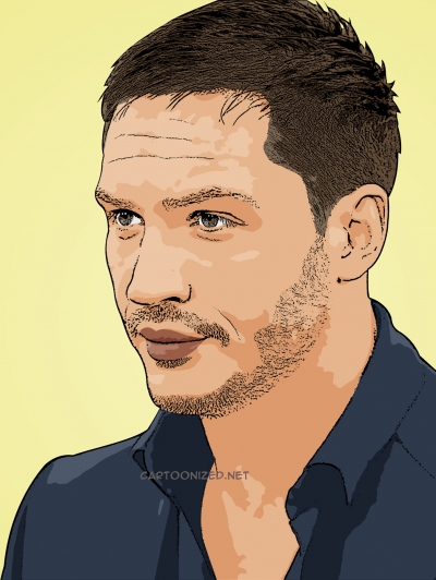 Photo cartoon of Tom Hardy