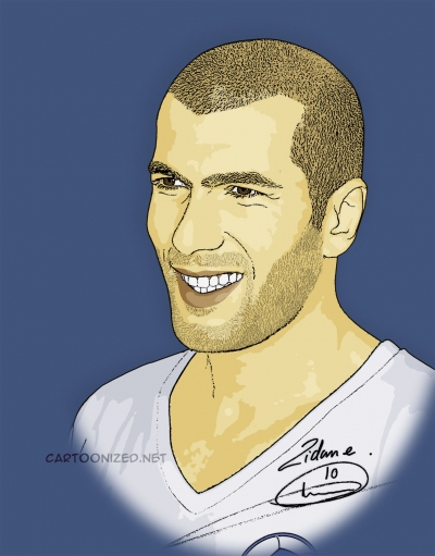Photo Cartoon of Zinedine Zidane