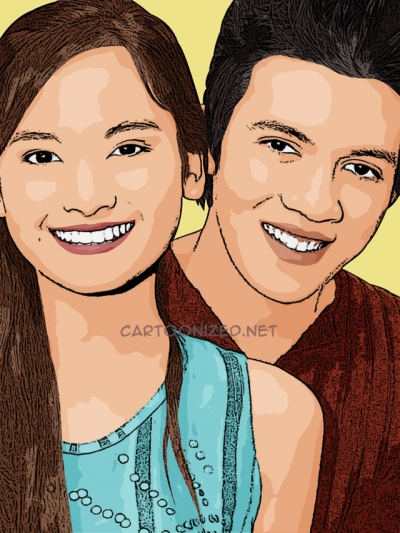 Photo cartoon of Acha Septriasa and Irwansyah
