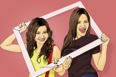 Photo Cartoon of Aly Michalka, AJ Michalka