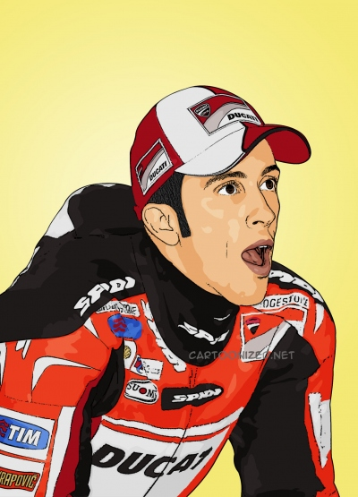 Photo cartoon of Andrea Dovizioso