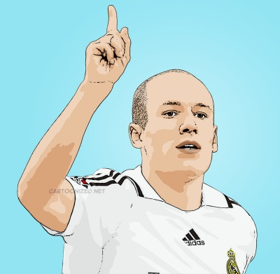 Cartoon photo of Arjen Robben