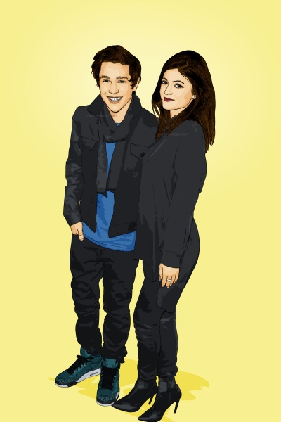 Cartoon photo of Austin Mahone and Kylie Jenner