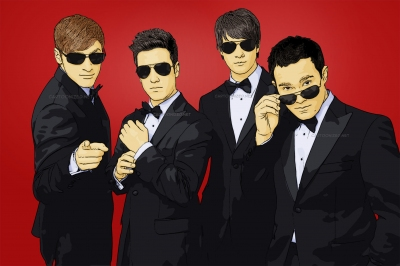 Photo Cartoon of big time rush by cartoonized.net
