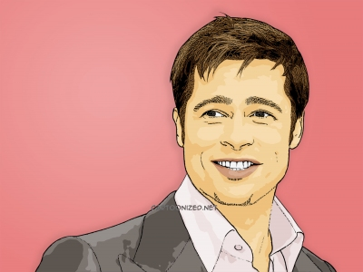 Photo Cartoon of brad pitt