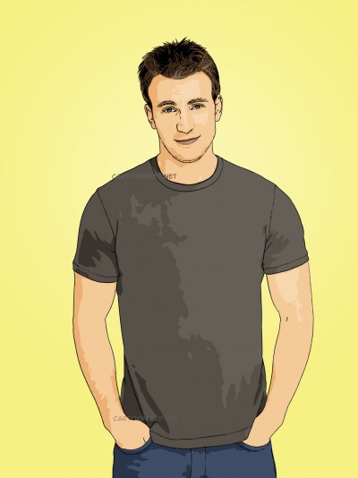 Photo cartoon of Chris Evans