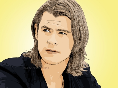 Cartoon photo of Chris Hemsworth