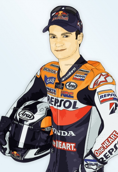 cartoon photo of dani pedrosa by cartoonized.net