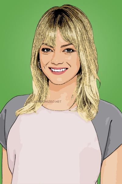 Photo cartoon of Emma Stone