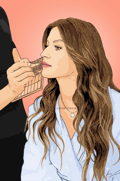 Photo cartoon of Gisele Bundchen
