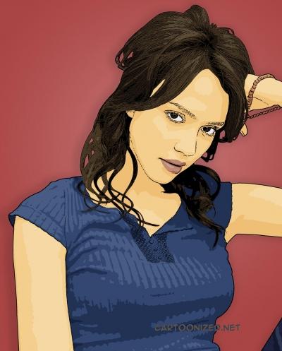 Photo Cartoon of Jessica Alba