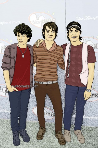 Photo Cartoon of Jonas Brothers