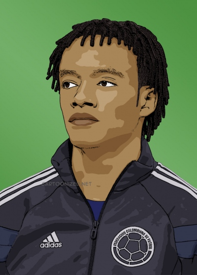 Photo cartoon of Juan Cuadrado
