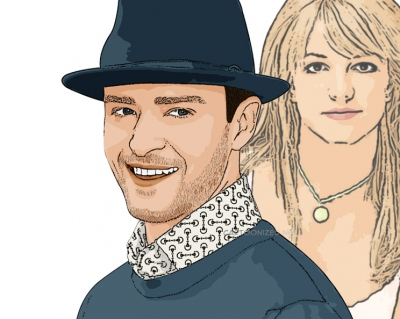 Photo cartoon of Justin Timberlake & Britney Spears