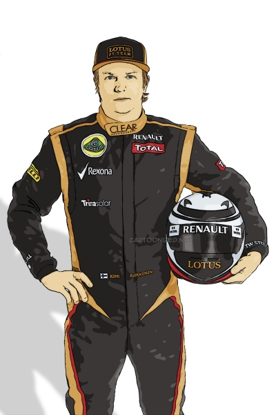 cartoon photo of Kimi Raikkonen