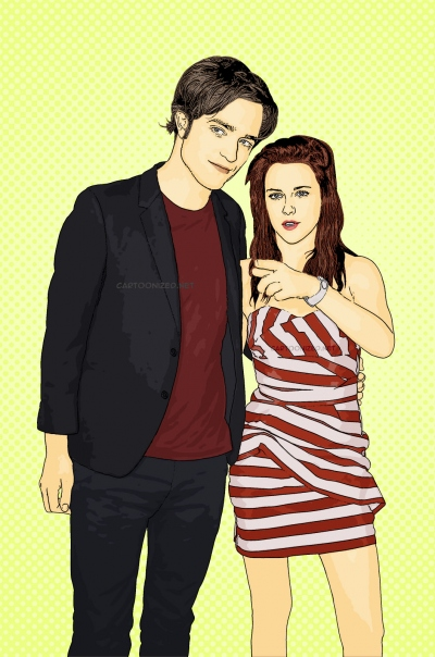 Photo Cartoon of Robert Pattinson & Kristen Stewart