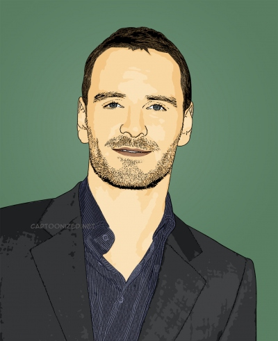 cartoon photo of Michael Fassbender
