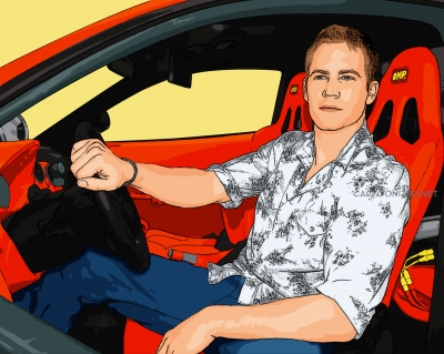 Photo cartoon of Paul Walker