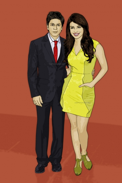 Photo Cartoon of Shah Rukh Khan & Priyanka Chopra