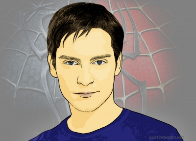 Photo Cartoon of Tobey Maguire