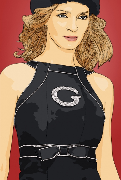 cartoon photo of uma thurman by cartoonized.net