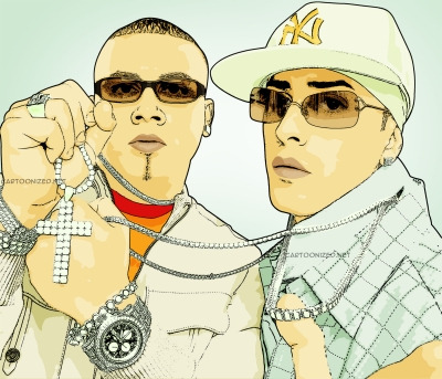 Photo Cartoon of Wisin Y Yandel by cartoonized.net