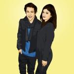 Cartoon photo of Austin Mahone and Kylie Jenner