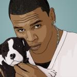 cartoon photo of Chris Brown