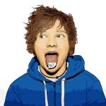 cartoon photo of Ed Sheeran