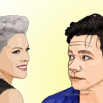 Photo cartoon of Pink and Nate Ruess