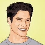 Photo cartoon of Tyler Posey