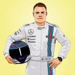 Photo cartoon of Valtteri Bottas